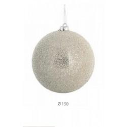 Palla decorata con mini perline color champagne. Diam. 10