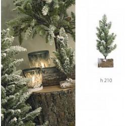 Pino nevato con base su tronco. H 21