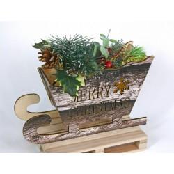 Slitta in legno con LED, rami, bacche e decorazioni. CM 25x9 H 21