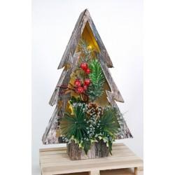 Albero legno con luce LED, rami, pigne e decorazioni natalizie. CM 30x18.5