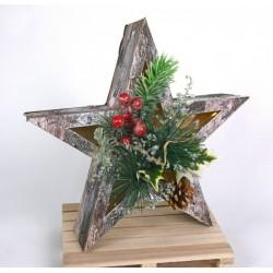 Stella legno con luce LED e decorazioni natalizie. Diam. 26