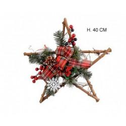 Stella naturale con decorazioni natalizie. H 40