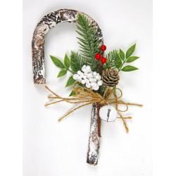 Bastoncino manico di ombrello con fiori natalizi. H26