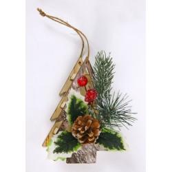 Appendino legno forma albero con decorazione natalizia. CM 14x9