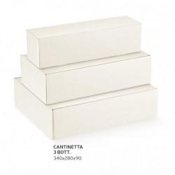 Scatola cartoncino per 3 bottiglie sfere bianco. CM 34x28 H 9