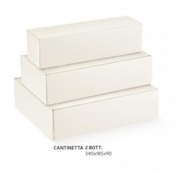 Scatola cartoncino per 2 bottiglie sfere bianco. CM 34x18.5 H 9