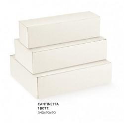 Scatola cartoncino per 1 bottiglia sfere bianco. CM 34x9 H 9