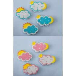 Calamita nuvoletta in resina, rosa o azzurra. Ass 4.cm.4