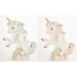 Unicorno in resina salvadanaio rosa o azzurro. CM 12