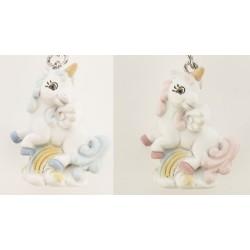Unicorno portachiavi in resina rosa o azzurro. CM3,5