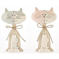 Gattino ceramica e legno bicolor baby. CM 14