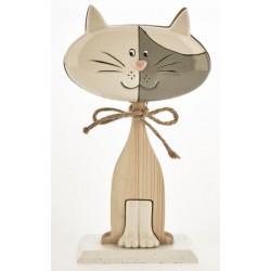 Gattino ceramica e legno bicolor. CM 13