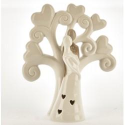 Albero porcellana con coppia sposi e luce LED. CM 12