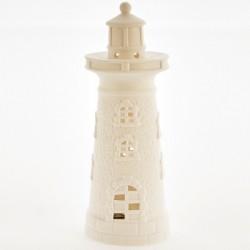 Faro ceramica bianca opaca con luce LED. CM 13