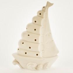 Barca ceramica bianca opaca con luce LED. CM 18