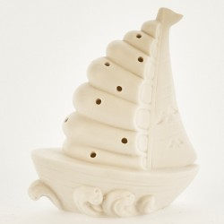 Barca ceramica bianca opaca con luce LED. CM 13
