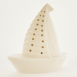Barca ceramica bianca opaca con luce LED. CM 10