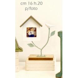 Portafoto casetta legno su ramo metallo. CM16 H 20