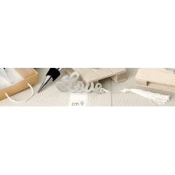 Segnalibro metallo love con nappa e scatola. CM 9