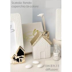 Profumatore ceramica forma casetta con tetto gold e scatola. CM 8 H 11