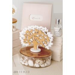 Profumatore base ceramica ambra e vetro con albero tessuto e legno con scatola. Diam. 11 h 13