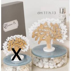 Profumatore base ceramica turchese e vetro con albero tessuto e legno con scatola. Diam. 11 H 13