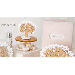 Profumatore base ceramica ambra e vetro con albero tessuto e legno con scatola. Diam. 8 h 10