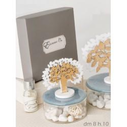 Profumatore base ceramica turchese e vetro con albero tessuto e legno con scatola. Diam. 8 H 10