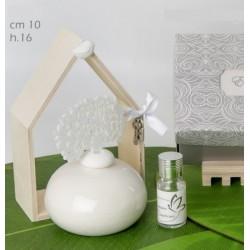 Profumatore base ceramica con albero in tessuto e casa legno con scatola. CM 10 H 16