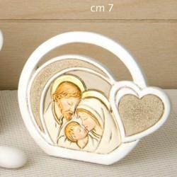 Icona Sacra Famiglia in resina con cuore. CM 7