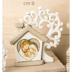 Icona resina forma casa con Sacra Famiglia. CM 8