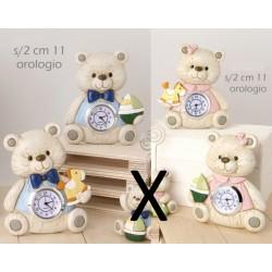 Orologio forma orso in resina tipo legno, rosa o azzurro. Ass 2. CM 11x9