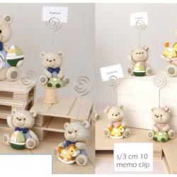 Memo clip in resina con orsetti baby, rosa o azzurri.  Ass 3. H 10