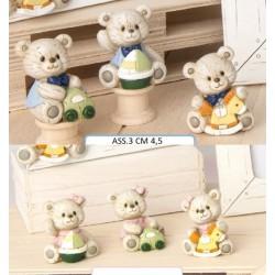 Orsetti in resina tipo legno, soggetti baby. Ass 3. H 4