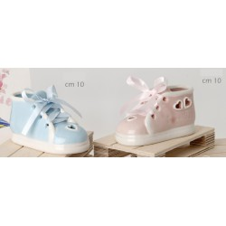 Scarpa ceramica lucida baby, rosa o azzurra. CM 10