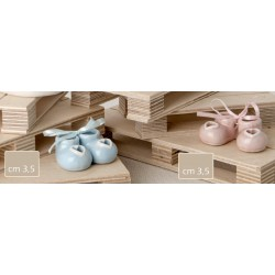 Coppia scarpe baby ceramica rosa o azzurre. CM 3.5