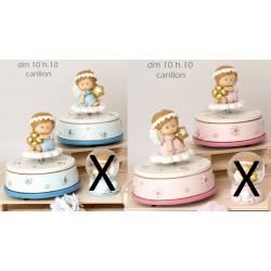 Carillon in resina con angioletto baby, rosa o azzurro. Ass 2. Diam. 10 H 10