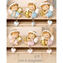 Calamita angelo resina con ciondolino cuore baby, rosa o azzurro. Ass 3. CM 6