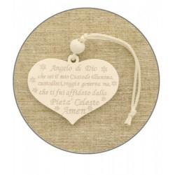 """Set 12 legno cuore con preghiera """"Angelo custode"""". CM 5"""