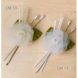 Pick fiore tulle con strass centrale, bianco o panna. CM 13
