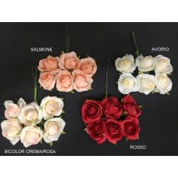 Mazzo 6 rose tessuto. Diam. 4