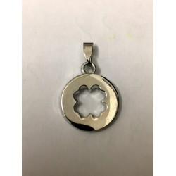 Ciondolo metallo con traforo quadrifoglio. CM 2.5