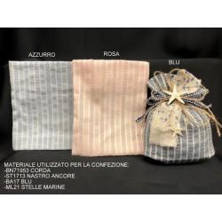 Sacchetto tessuto riga corda avorio con base soffietto. CM 13x15