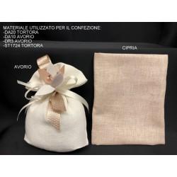 Sacchetto tessuto grezzo con base soffietto. CM 13x15