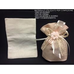 Sacchetto tessuto grezzo con base soffietto. CM 10x13