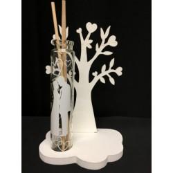Profumatore provetta vetro con retro albero legno con scatola. Base CM 10x7 H 15