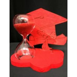 Base legno con tocco rosso e clessidra vetro con scatola. Base CM 10x7 H 9.5