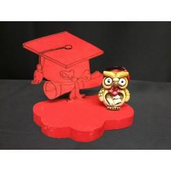 Base legno con tocco rosso e gufo resina. Base CM 8x6 H 6.5