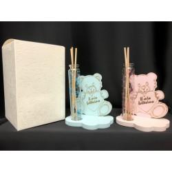 Profumatore provetta vetro con base legno orsetto baby, rosa o azzurro con scatola. Base CM 10x7 H 12