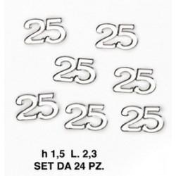 Set 24 applicazione 25° in plastica. CM 2.3 H 1.5